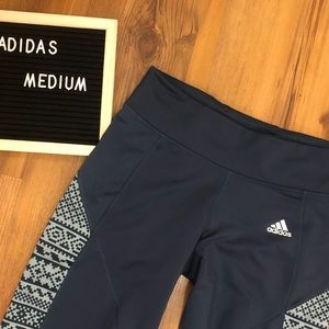 Adidas Climawarm Leggings Navy Blue with Design M